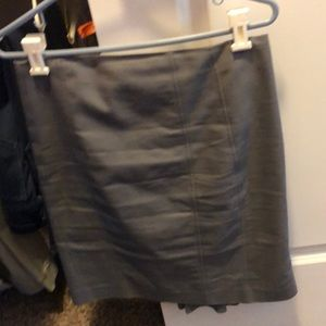 Gray pencil skirt with slit in back
